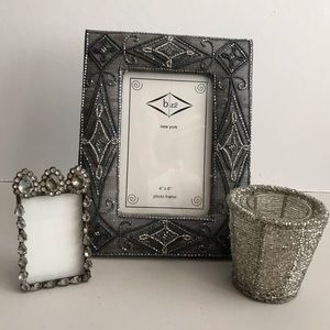 🖼Silver picture frames, votive holder (LOT of 3)